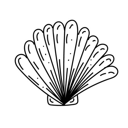 vector element, black and white drawing of a marine inhabitant, doodle coloring, shell