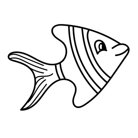 vector element, black and white drawing of a marine inhabitant, doodle coloring, cute sea striped fish