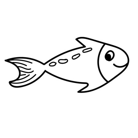 vector element, black and white drawing of a marine inhabitant, doodle coloring, cute little fish 版權商用圖片 - 147712100