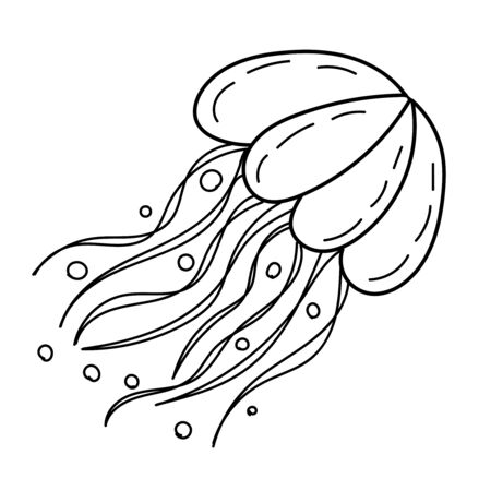 vector element, black and white drawing of a marine inhabitant, doodle coloring, cute sea jellyfish 版權商用圖片 - 147712331