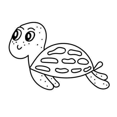 vector element, black and white drawing of a marine inhabitant, doodle coloring, cute little turtle 版權商用圖片 - 147712358
