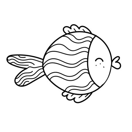 vector element, black and white drawing of a marine inhabitant doodle, cute little fish, coloring book