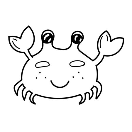 vector element, black and white drawing of a marine inhabitant doodle, cute crab, coloring book