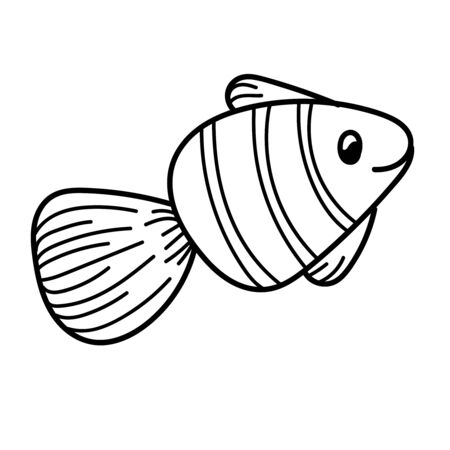 vector element, black and white drawing of a marine inhabitant, doodle coloring, cute little fish 版權商用圖片 - 147712499
