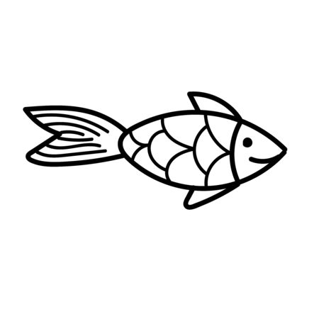 vector element, black and white drawing of a marine inhabitant, doodle coloring, cute little fish