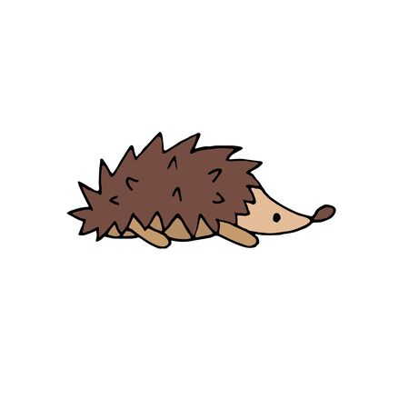vector color hand-drawn illustration, element without background, hedgehog from the forest