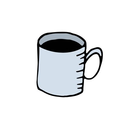vector color hand-drawn illustration, element without background, blue mug