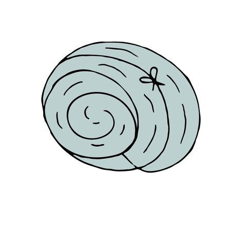 vector color hand-drawn illustration, element without background, blue sleeping bag 向量圖像