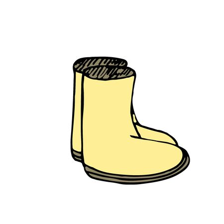 freehand vector color illustration, no background element, rubber boots for hiking