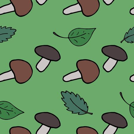hand-drawn vector seamless pattern, forest mushrooms and leaves on a green background