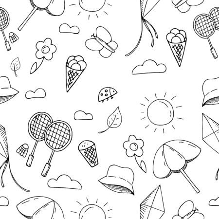 vector seamless hand-drawn pattern, doodles about summer and vacation holidays