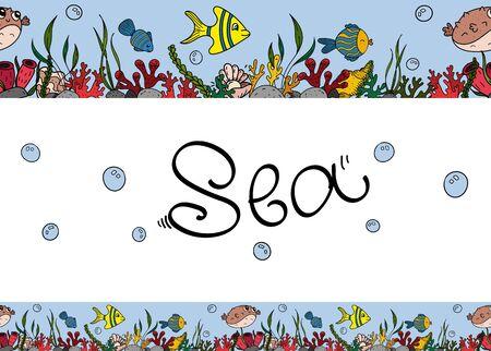 Vector seamless horizontal border, color doodles with sea inhabitants and algae. Vektoros illusztráció