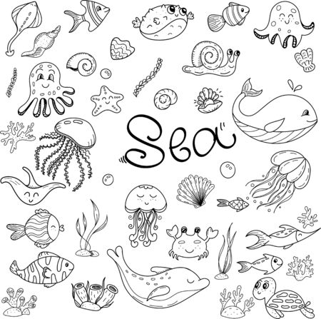vector set of doodles with marine inhabitants, coloring book