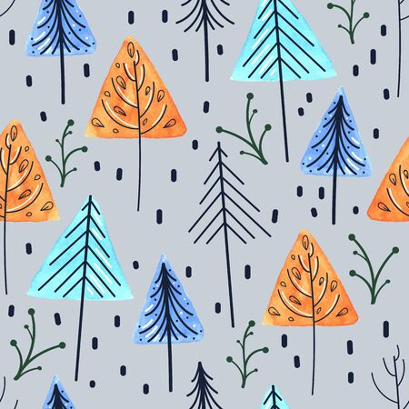 vector seamless pattern in scandinavian style, watercolor abstract trees and christmas trees with contour on a gray-blue background, botanical ornament Vettoriali