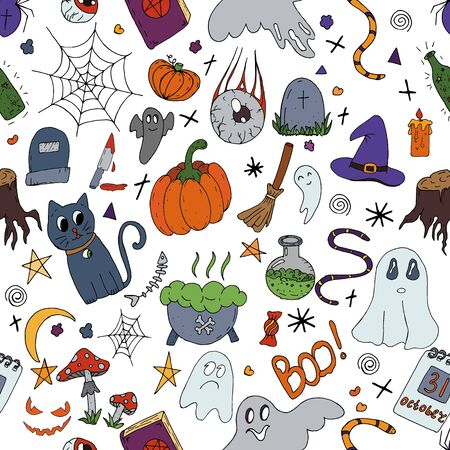 vector seamless pattern, halloween, color on a white background