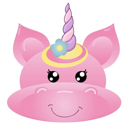 vector element, cute magical unicorn for girl, cartoon, kawaii, pink dream with a horn