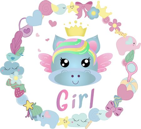vector illustration with cute kawaii unicorn in a round wreath of cute items for a girl without a background