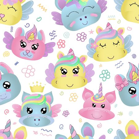 vector seamless pattern, cute faces of magical unicorns for a girl in gentle colors, kawaii without background