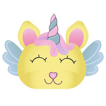 vector element, cute magical unicorn for girl, cartoon, pink dream with a horn Vettoriali
