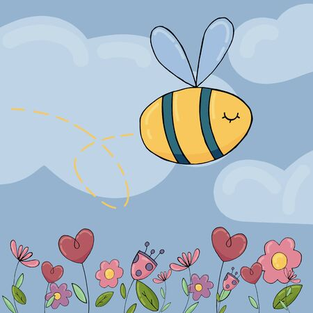 vector children s illustration, funny little bee in the sky with clouds and flowers Çizim
