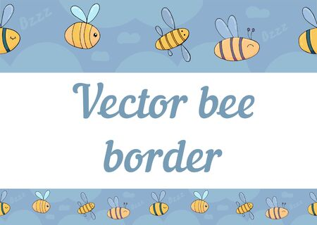 vector seamless border, funny bees in the sky, children drawing