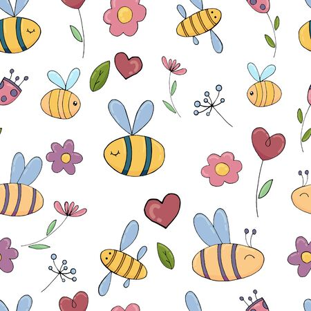 vector seamless pattern, funny bees and flowers without background