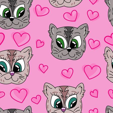 vector seamless pattern, funny cats in love Çizim
