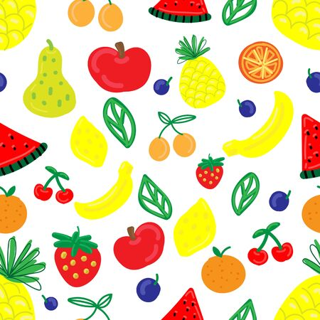vector seamless pattern, funny primitive bright fruits and berries