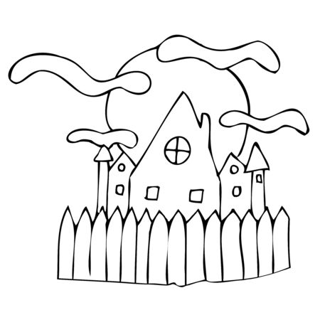 scary castle on the background of the full moon with a fence, vector decorative element for the celebration of Halloween in doodle style, black outline
