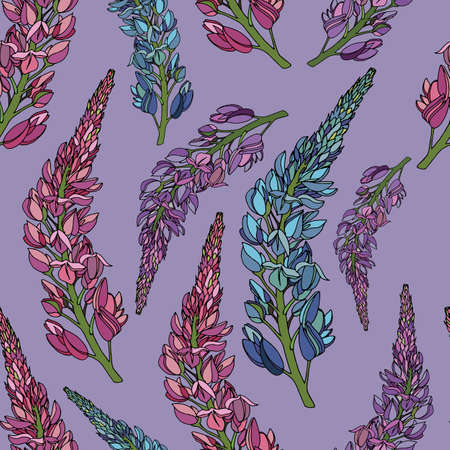 seamless pattern, black and white botanical ornamentation of sprigs of lupins on a lilac background Vettoriali