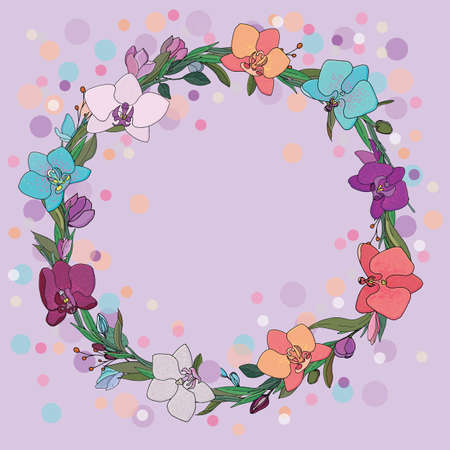vector illustration for a card or invitation, floral round wreath of bright orchids and leaves on a lilac background