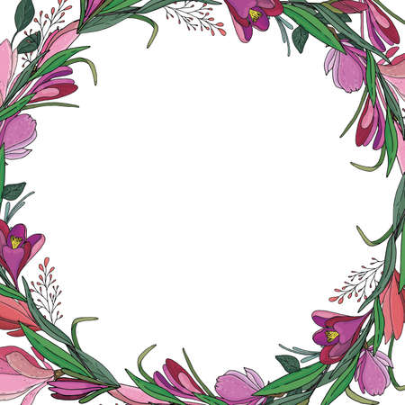 botanical round wreath of pink and purple crocuses, tulips, flowers, twigs and leaves for cards and invitations