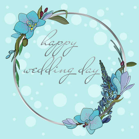 botanical round wreath of blue orchids and lupines with twigs and leaves for cards and wedding invitations