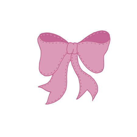 vector element, cute pink bow with decorative stitch for a child