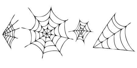 set of cobwebs, vector doodle element for halloween celebration in doodle style, black outline Vetores