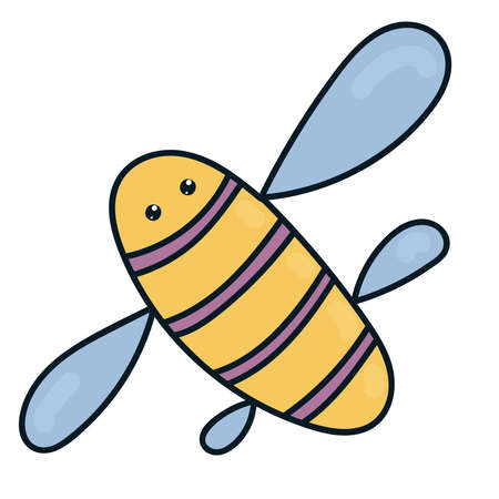 striped yellow-violet bee with wings, insect, doodle illustration 일러스트