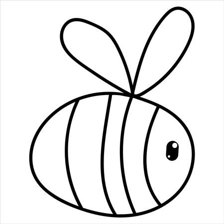 cute little bee with wings, kids picture in doodle style, coloring book