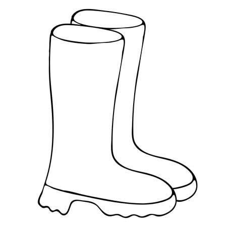 rubber boots from autumn rain, freehand drawing, vector element in doodle style, coloring book, black outline