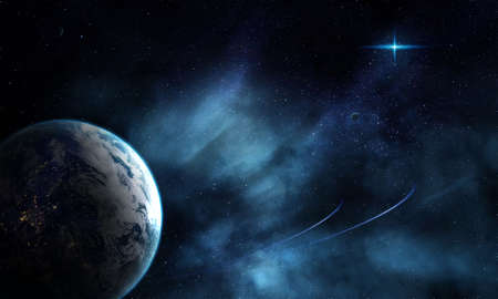 Planet Earth in space in the glow of stars and nebula, abstract space 3D illustration, 3d image, 3d rendering, background image