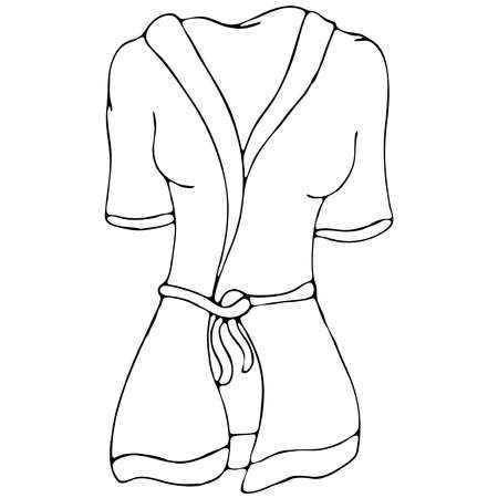home clothes for women - bathrobe, vector elements in doodle style with black outline