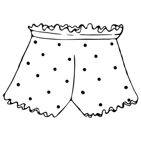 set of female sexy underwear - cute panties shorts, vector elements in doodle style with black outline