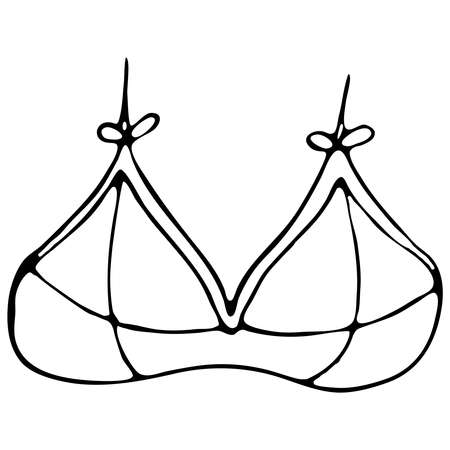 set of female sexy underwear - bra, top, top from a swimsuit, vector elements in doodle style with black outline 向量圖像