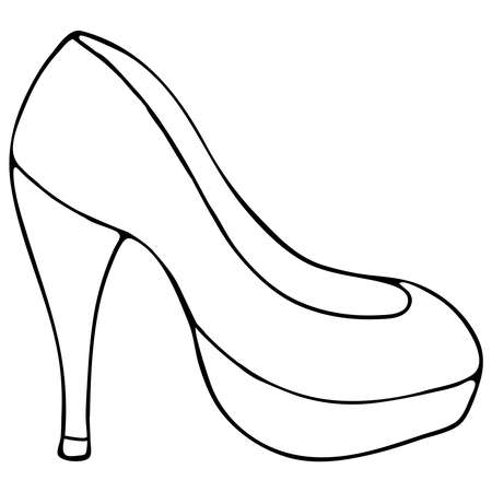 high-heeled women shoes, doodle style vector element with black outline 向量圖像
