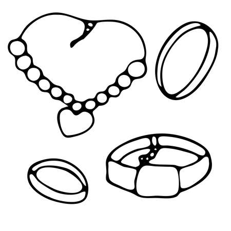 jewelry set, women necklace with a heart and bracelets, doodle vector element with black outline
