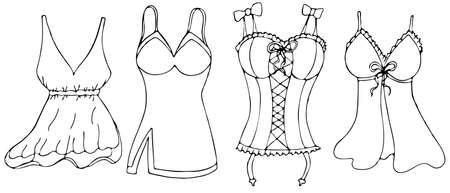 sexy underwear for woman - negligee, peignoir, corset, vector set of elements in doodle style with black outline