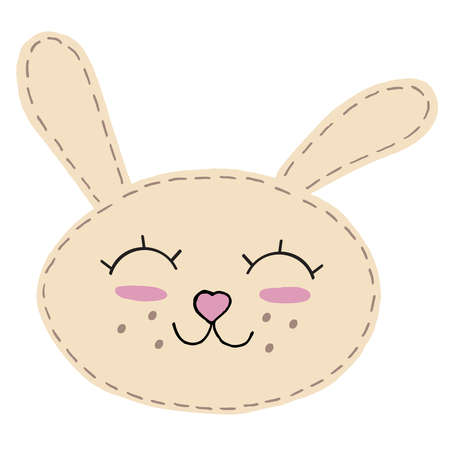 cute kawaii beige bunny head with long ears and heart nose, kids toy, vector element with decorative stitching seam