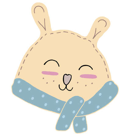 cute kawaii beige bear head with funny ears and nose heart in a scarf, kids toy, vector element with decorative stitching seam 向量圖像