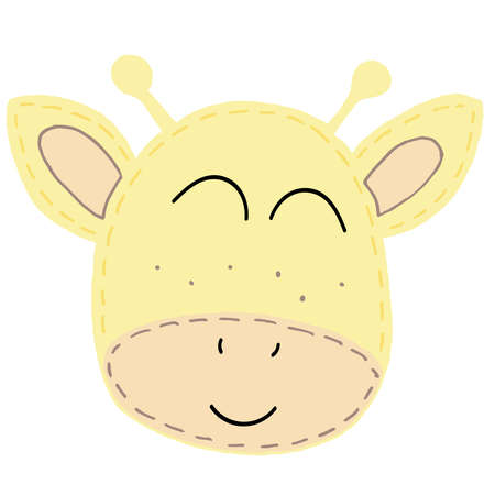 cute kawaii yellow giraffe head with funny ears and horns, kids toy, vector element with decorative stitching seam