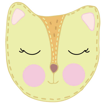 cute kawaii red chanterelle head with funny ears and ruddy cheeks, kids toy, vector element with decorative stitching seam