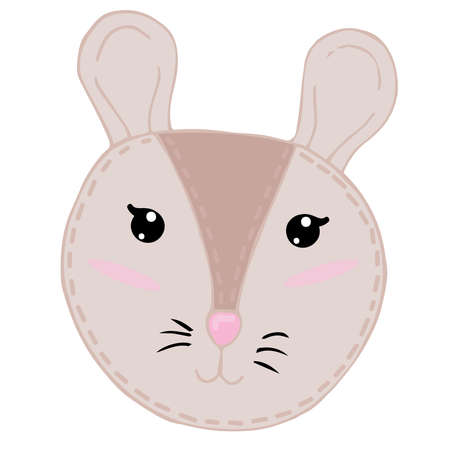 cute kawaii brown mouse head with funny ears and ruddy cheeks, kids toy, vector element with decorative stitching seam
